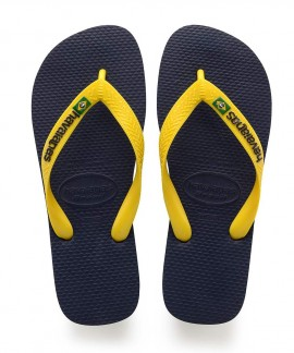 4110850-3587 HAVAIANAS BRASIL LOGO(NAVY BLUE/CITRUS YELLOW)