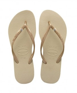 4119517-2719 HAVAIANAS SLIM CRYSTAL GLAMOUR SW(SAND GREY/LIGHT GOLDEN)