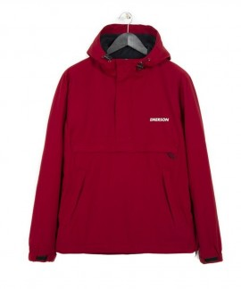 182.EM10.106-008 EMERSON MEN'S PULL-OVER JACKET WITH HOOD (RED)