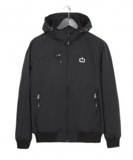 182.EM10.151-006 EMERSON MEN'S RIBBED JACKET WITH DET/BLE HOOD (BLACK)