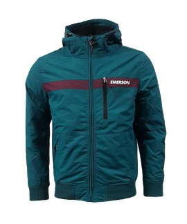 182.EM10.34-019 EMERSON MEN'S RIBBED JACKET WITH HOOD (PEACOCK/WINE)