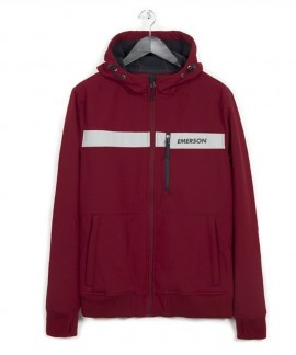 182.EM11.34-034 EMERSON MEN'S SOFT SHELL RIBBED JACKET WITH HOOD (RED/ICE)