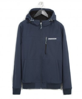 182.EM11.34-033 EMERSON MEN'S SOFT SHELL RIBBED JACKET WITH HOOD (MIDNIGHT BLUE)