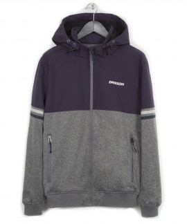 182.EM11.51-037 EMERSON MEN'S SOFT SHELL JKT WITH DET/BLE HOOD (GML/PURPLE)