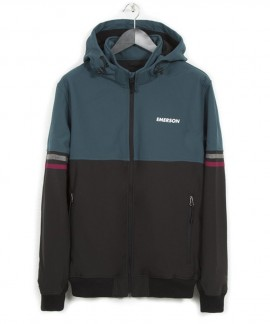 182.EM11.51-036 EMERSON MEN'S SOFT SHELL JKT WITH DET/BLE HOOD (BLACK/FOREST)