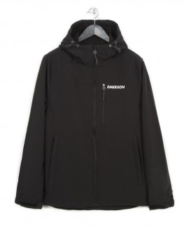182.EM11.33-030 EMERSON MEN'S SOFT SHELL JACKET WITH HOOD (BLACK)