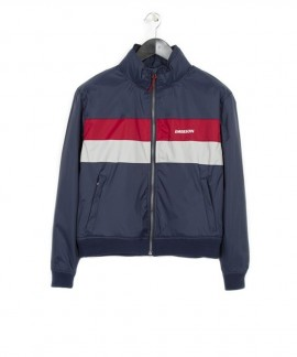 182.EW10.108-072 EMERSON WOMEN'S RIBBED JKT WITH ROLL IN HOOD (NAVY BLUE/ICE RED)