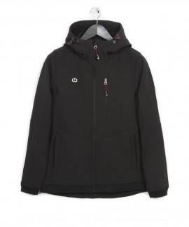 182.EW11.102-030 EMERSON WOMEN'S SOFT SHELL JKT WITH HOOD (BLACK)