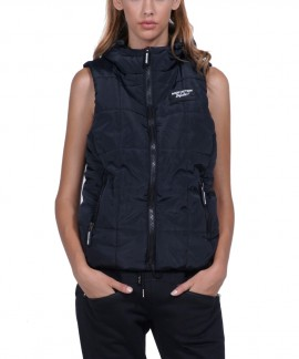 071830-01 BODY ACTION WOMEN HOODED QUILTED VEST (ΒLΑCΚ)