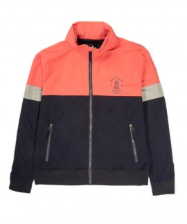 191.EW10.61-071 EMERSON WOMEN'S JKT WITH RIB BOT & ROLL IN HOOD (NAVY/BLUE/CORAL)