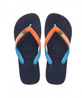 4123206-6776 HAVAIANAS BRASIL MIX (NAVY/NEON ORANGE)