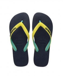 4115549-0821 HAVAIANAS TOP MIX (NAVY/NEON YELLOW)