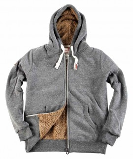 073728 BODY ACTION MEN FUR LINED ZIP HOODIE