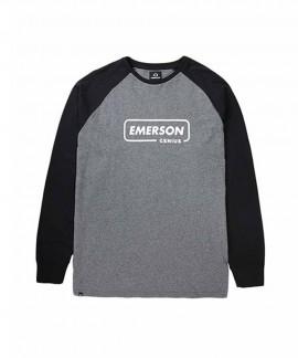 192.EM31.14-018 EMERSON MEN'S L/S T-SHIRT (D.GREY ML/BLACK)