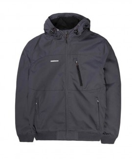 192.EM10.127-006 EMERSON MEN'S RIBBED JACKET WITH HOOD (DOBBY EBONY)