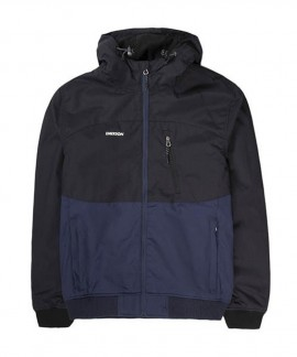 192.EM10.127-007 EMERSON MEN'S RIBBED JACKET WITH HOOD (DOBBY NAVY BLUE/BLACK)