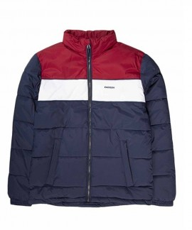 192.EM10.65-010 EMERSON MEN'S P.P. DOWN JKT WITH ROLL-IN HOOD (BLUE/WHITE/RED)