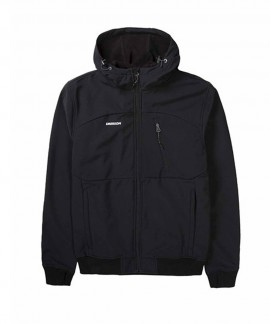 192.EM11.127-011 EMERSON MEN'S SOFT SHELL RIBBED JKT WITH HOOD (BD BLACK)