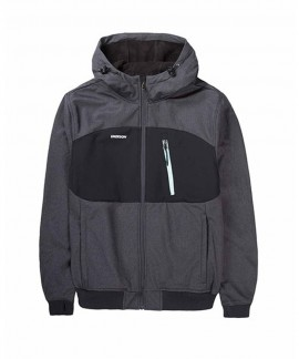 192.EM11.127-012 EMERSON MEN'S SOFT SHELL RIBBED JKT WITH HOOD (BD GMD/BLACK)