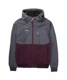 192.EM11.127-013 EMERSON MEN'S SOFT SHELL RIBBED JKT WITH HOOD (BD WINE/D.GREY)