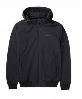 192.EM11.08-011 EMERSON MEN'S SOFT SHELL RIB JKT, DET/BLE HOOD (BD BLACK)