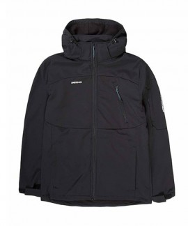 192.EM11.27-011 EMERSON MEN'S SOFT SHELL JACKET, DET/BLE HOOD (BD BLACK)