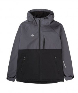 192.EW11.90-030 EMERSON WOMEN'S SOFT SHELL JACKET WITH HOOD (BLACK/D.GREY)