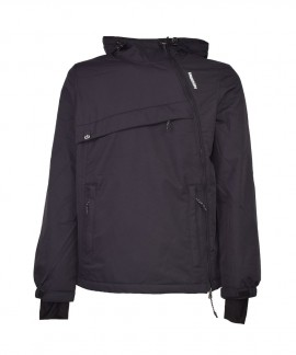 192.EM10.62-001 EMERSON MEN'S HOODED PULLOVER JKT (DOBBY BLACK)