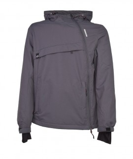 192.EM10.62-006 EMERSON MEN'S HOODED PULLOVER JKT (DOBBY EBONY)