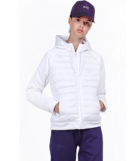 071930-WHITE BODY ACTION WOMEN PADDED SLIM JACKET WITH HOOD