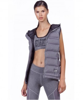 071931-L.MEL.GREY BODY ACTION WOMEN WINTER VEST WITH HOOD