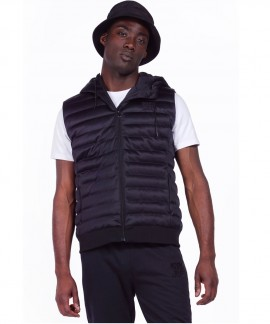073924-BLACK BODY ACTION MEN ZIP-THROUGH PADDED VEST WITH HOOD