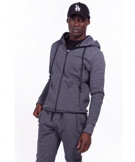 073928-CHARCOAL BODY ACTION MEN HOODED SWEAT JACKET