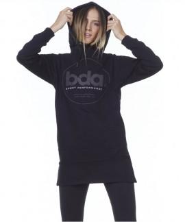 061004-ΒLΑCΚ BODY ACTION OVERSIZED HOODED DRESS