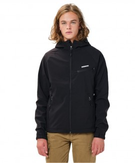 202.EM11.02-013 EMERSON MEN'S SOFT SHELL JACKET WITH HOOD (BLACK)