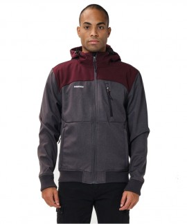 202.EM11.127-020 EMERSON MEN'S SOFT SHELL RIBBED JACKET WITH HOOD (GMD/WINE)