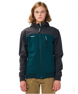 202.EM11.127-019 EMERSON MEN'S SOFT SHELL RIBBED JACKET WITH HOOD (FOREST/GREY)