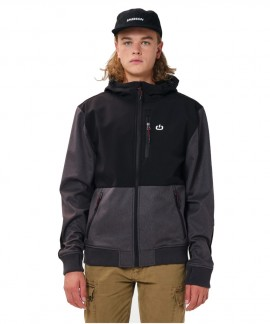 202.EM11.27-021 EMERSON MEN'S SOFT SHELL RIBBED JACKET WITH HOOD (GMD/BLACK)
