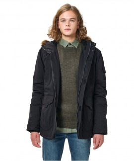 202.EM10.57-003 EMERSON MEN'S LONG JACKET WITH FUR ON HOOD (BLACK)