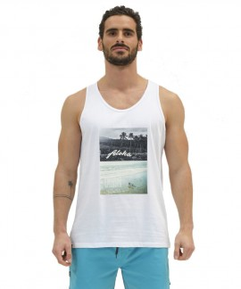 211.EM37.51-004 EMERSON HAWAIIAN TANK TOP (WHITE)