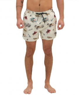 211.EM505.14-030 EMERSON PRINTED VOLLEY SHORTS (PR 239 PALE YELLOW)