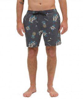 211.EM505.13R-027 EMERSON PRINTED PACKABLE VOLLEY SHORTS (PR 225 OFF BLACK)