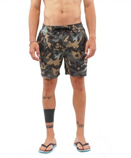 211.EM505.12-025 EMERSON PRINTED PACKABLE VOLLEY SHORTS (PR 213 CAMO OLIVE)