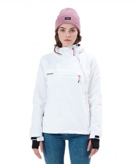 212.EW10.62-006 WOMEN'S PULLOVER JACKET WITH HOOD - K9 WHITE